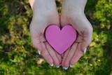 Pinkfarbendes Herz in Händen getragen - 241601649