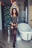 erotic woman posing in lingerie indoors