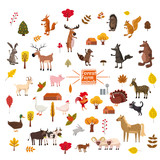 Set of cute and cute farm and forest animals, fox, bear, wolf, pig, rabbit, cat, raccoon, cow, horse, bull, cow, squirrel, cartoon style, greeting card, illustration, vector, banner, isolated