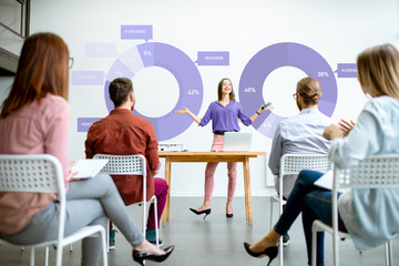 Young woman speaker reporting to the audience during the meeting in the conference room with charts on the background