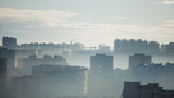 Multi-storey building. Morning panorama of the big city. High-rise buildings - 241619605