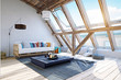 modern attic interior design. 3d rendering concept