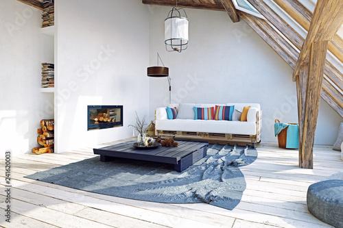 modern attic interior design. 3d rendering concept - 241620003