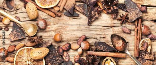 obraz lub plakat Flat lay chocolate background