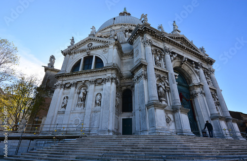 the beautiful cathedral of Santa Maria della Salute on the Venice Lagoon - 241626677