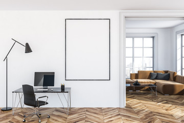 White home office with poster