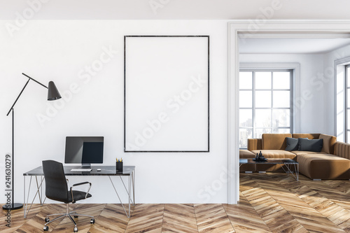 White home office with poster - 241630279