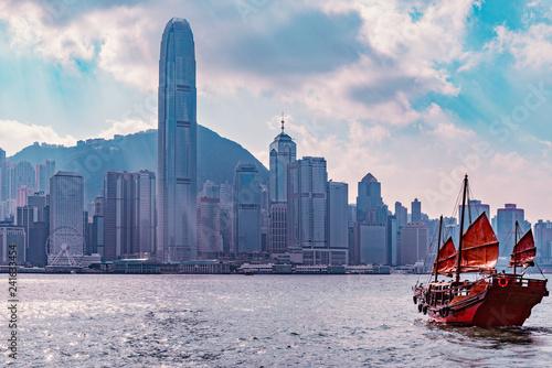 Retro small ship in Hong Kong harbour