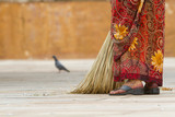Woman with broom at Jaigarh Fort in Jaipur, India