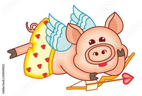Cute cartoon Cupid pig