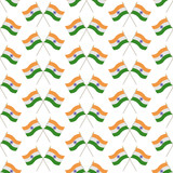 Flag of India Seamless Pattern - Two flags of India crossed on white background