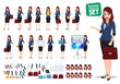 Female business character vector set. Office woman talking and holding bag with various posture and hand gestures for business presentations. Vector illustration.