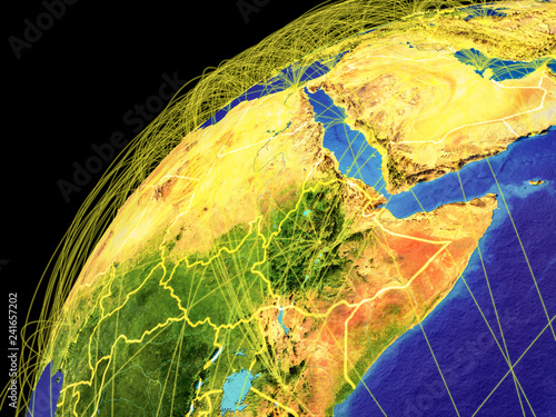Northeast Africa on Earth with borders