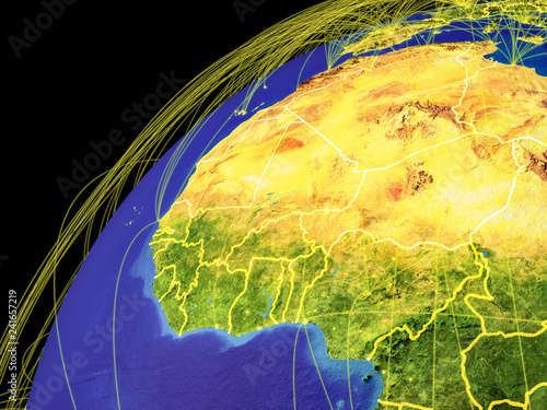 Western Africa on Earth with borders