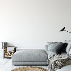 Living room interior. Wall mockup. Wall art. 3d rendering, 3d illustration.