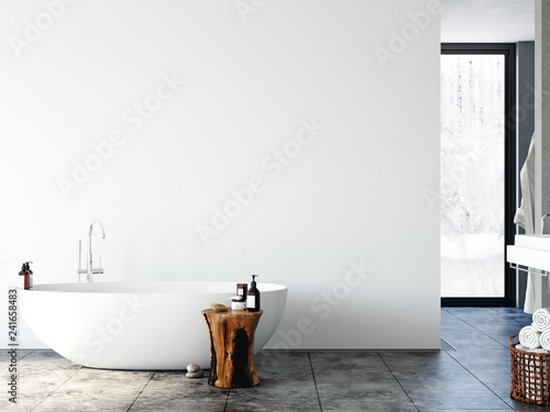 Bathroom interior. Wall mockup. Wall art. 3d rendering, 3d illustration.