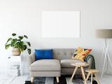 Frame mockup. Living room interior wall mockup. Wall art. 3d rendering, 3d illustration. - 241660237