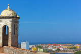 Observation tower of San Felipe de Barajas Castle with a view on historic Cartagena town in Colombia. Historic fort on San Lazaro Hill overlooks old walled city. - 241664202