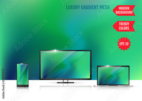 Trendy colorful abstract background. Gradient mesh. Modern Luxury concept. Abstract Cover. An example of the use of the proposed background on the screen of a laptop, smartphone and TV