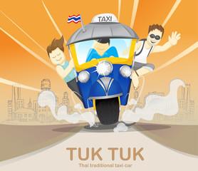 Tourism on tuk tuk driving to travel, journey trips, adventure, transportation,Thailand