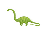 Flat vector design of green apatosaurus or brachiosaurus. Giant dinosaur with long neck and tail