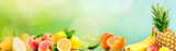 Fresh Fruits banner. Health and diet background. Panoramic wiev