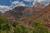 The Sentinel, Zion canyon and the Switchbacks on Zion - Mount Carmel Highway