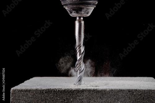 Leinwandbild Motiv Closeup view of concrete drill bit