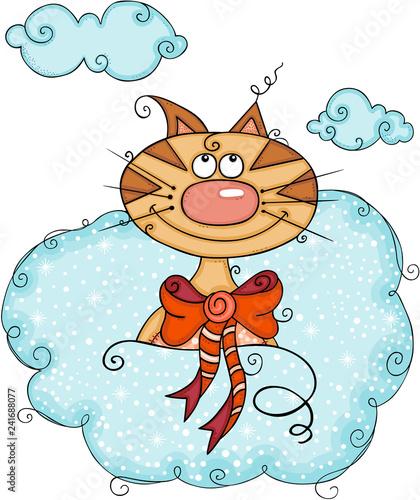 Cute cat in cloud - 241688077