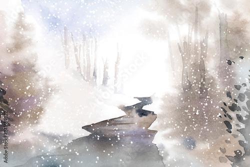 Winter wonderland landscape painted by watercolor vector - 241689822