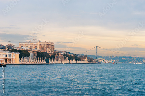 Dolmabahche Palace in Istanbul from water. Istanbul cityscape with Bosphorus.