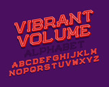 Vibrant volume isolated english alphabet. Bright 3d letters font. - 241700697