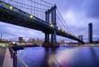 Manhattan Bridge at night. New York