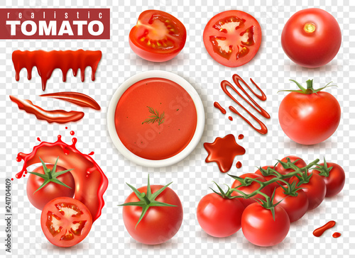 Realistic Tomato Transparent Set - 241704409