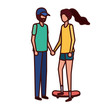young couple with skateboard avatar character