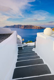 Staircase with view to the sea in Oia, Santorini, Greece