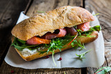 Big sandwich with salmon and cream cheese