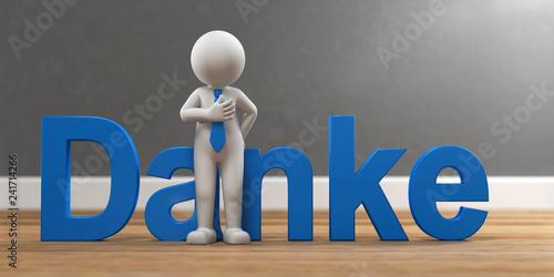 3D Illustration weißes Männchen Danke - 241714266