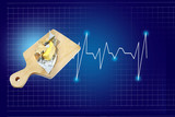Butter on a wooden board with a heart beat rate chart info, isolated on blue background with checkered lines. - 241722017