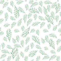 Seamless pattern with a sprig of grass on a white background for printing on fabric, paper, covers, doodle style, vector. © Светлана Шевцова