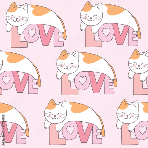 obraz lub plakat Cartoon cute Valentines day cat and love seamless pattern vector.