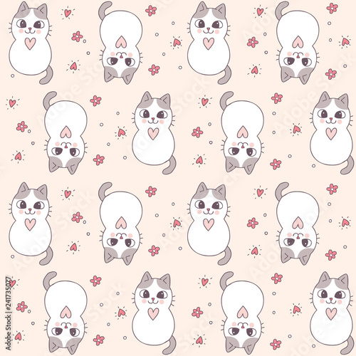 obraz lub plakat Cartoon cute Valentines day cat and heart seamless pattern vector.