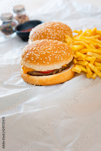 Cheese burger - American cheese burger with Golden French fries - 241735478
