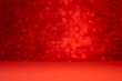 Red background with bokeh. Valentine's day celebration or love concept. Copy space. Defocused