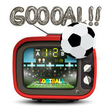 Fototapeta Sport - Goal Symbol with Football Ball and Red Retro TV Isolated on White Background © mejn