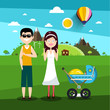 Family on Field. Man and Woman with Baby Carriage Vector Illustration.