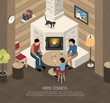 Fire Place Family Isometric Illustration