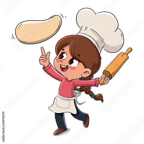 Sticker Kind macht eine Pizza oder kocht