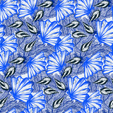 Vector seamless nautical pattern with hand drawn striped shells - 241749477