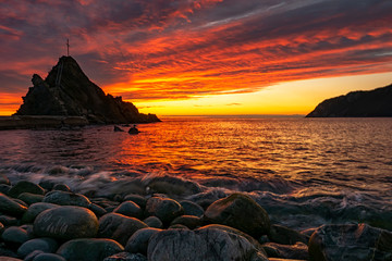 Sunset on the seaside of Liguria © Nikokvfrmoto